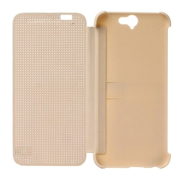 PC Silicone Horizontal Flip Hard Cover with Sleep / Wake-up Function for HTC One A9 (Gold) (Intl)