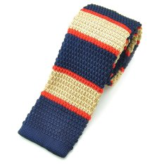 "PenSee Casual Mens Navy Blue & Red & Gold Slim 2.16"" Skinny Knit Tie (Intl)"