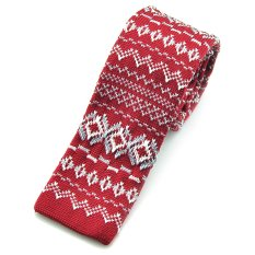 "PenSee Casual Mens Red & Grey & White Classic Pattern Slim 2.16"" Skinny Knit Tie (Intl)"