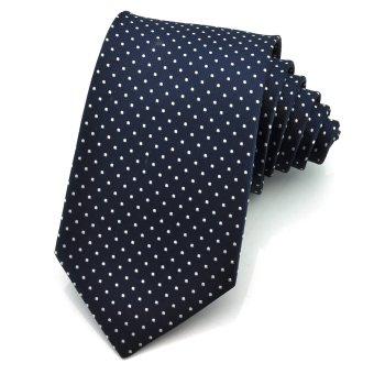 PenSee Mens Silk Tie Polka Dot Multiful Color Formal Necktie (Dark Blue & White) (Intl)