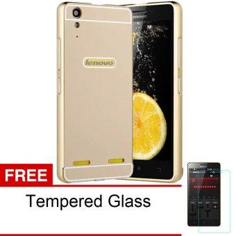Peonia Lenovo A6010 Metal Aluminium Bumper With Polycarbonate Backcase - Gold + Gratis Tempered Glass