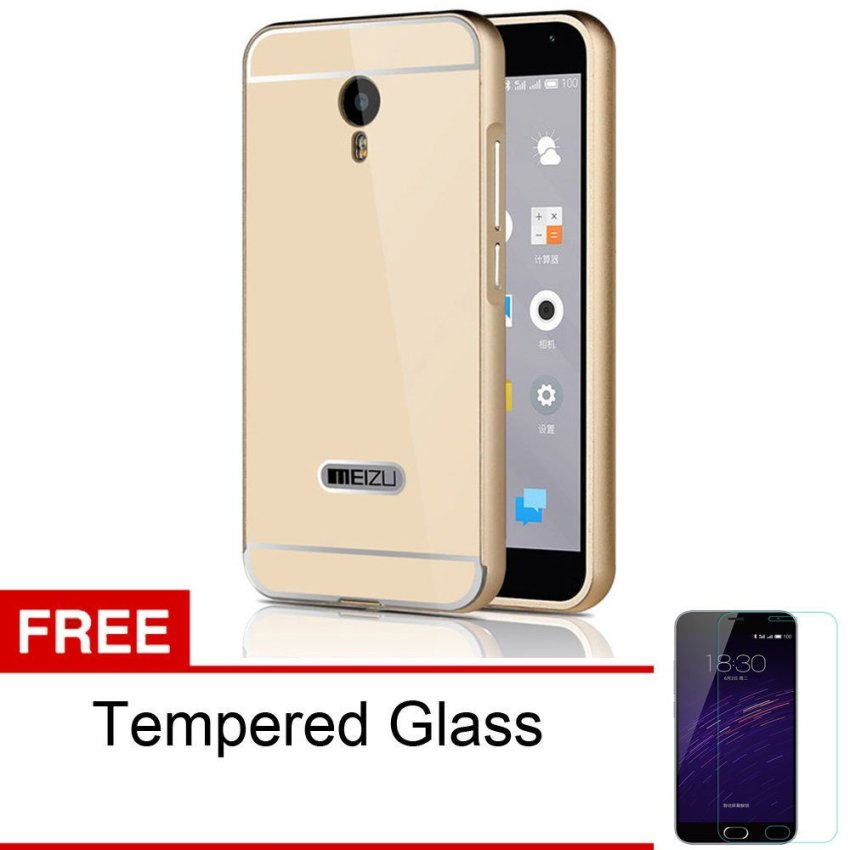 Peonia Meizu M2 Note Metal Aluminium Bumper with Polycarbonate Backcase - Gold + Gratis Tempered Glass