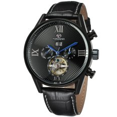Perfect 2016 New Forsining Men's Day / Week Tourbillion Auto Mechanical PU Leather Wristwatch Gift Box Free Ship Valentine's Day Gifts - Intl