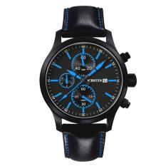 Perfect Switzerland Ochstin Genuine New Men's Sports Watch Waterproof 6-pin Male Personality Watch Big Dial Leather (Blue) - Intl