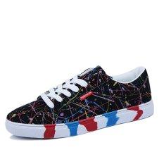 PINSV Men Casual Canvas Graffiti Skater Shoes (Black) (Intl)