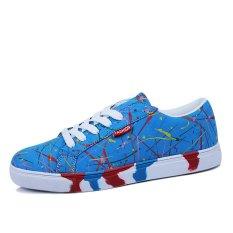 PINSV Men Casual Canvas Graffiti Skater Shoes (Blue) (Intl)