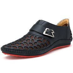 PINSV Men's Breathable Leather Loafers (Black) (Intl)
