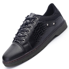 PINSV Synthethic Leather Men's Snake Print Casual Business Leather Shoes (Black) - Intl