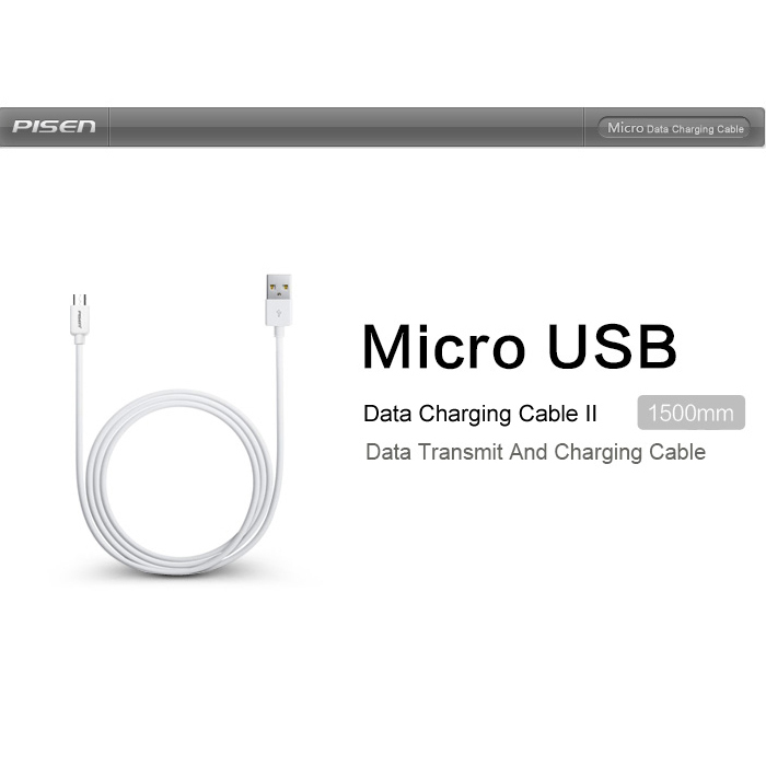 Pisen Micro USB data charging cable 1000mm MOTO-2A(White) (Intl)