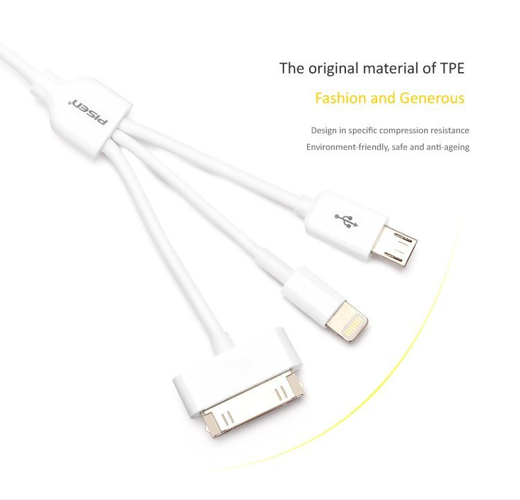 Pisen Multifunction data transmission and charging cable(Three in One)(White) (Intl)