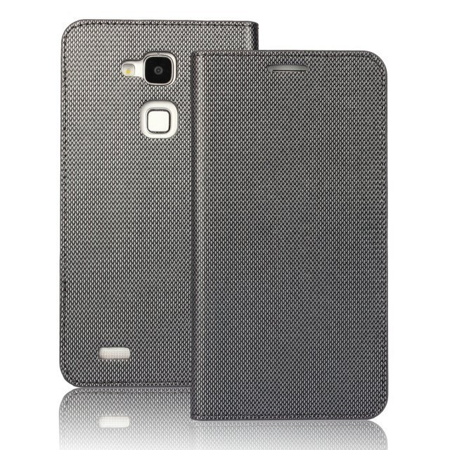 Plaid Leather Purse Holster Cover for Huawei Mate7 (Light Grey)