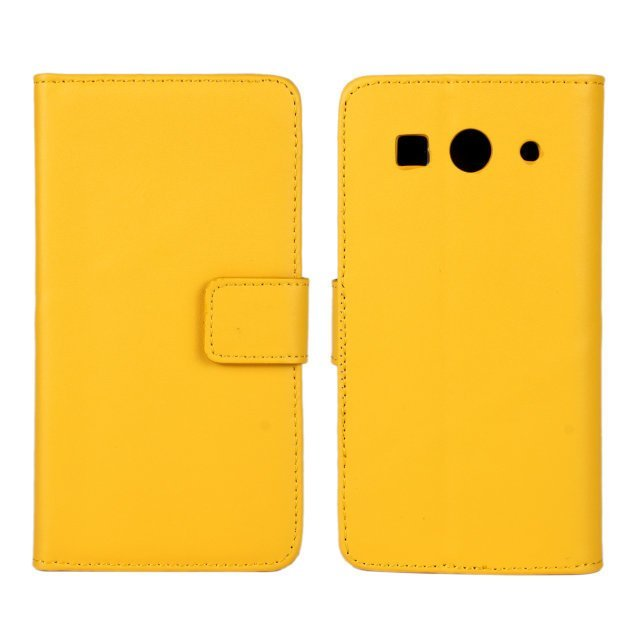 Plain Leather Purse Holster Cover for Huawei G520 G525 (Yellow)