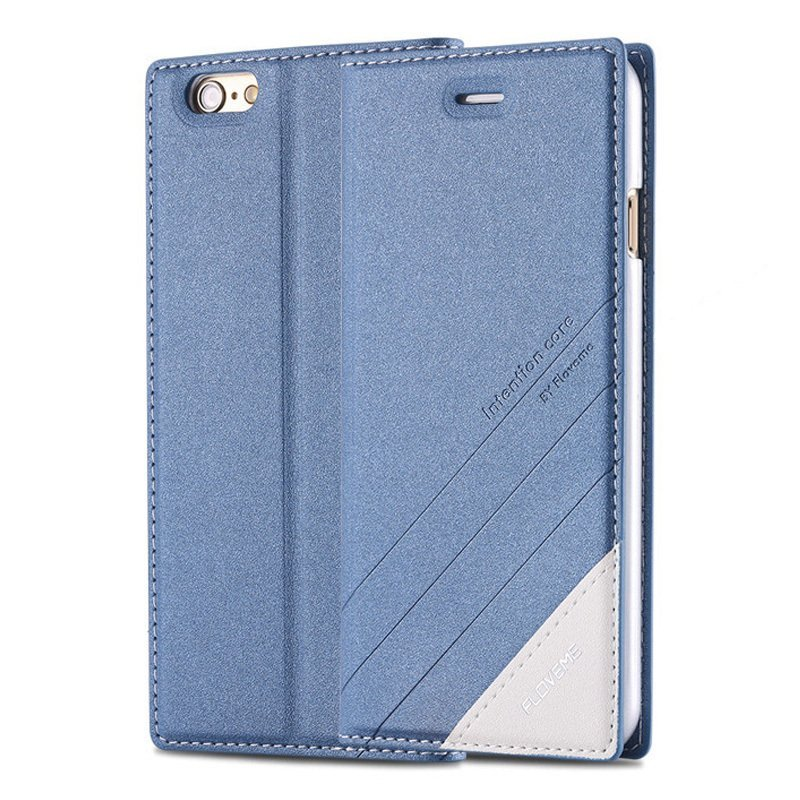Plus Magnetic Flip Wallet Case Original Brand PU Leather Cover for Iphone 6 /6s Full Luxury Leather Case blue (Intl)