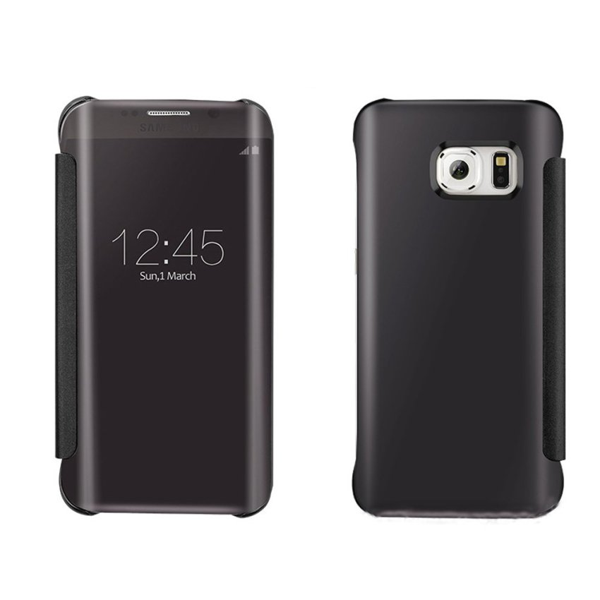 Podofo Mirror Flip Smart Case For Samsung Galaxy S6 Edge (Black) (Intl)