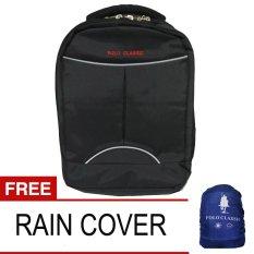 Polo Classic 8920 Ransel Backpack Laptop  - Hitam + Free Rain Cover
