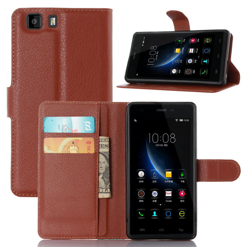 PopSky PU Leather Wallet Stand Flip Cover for DOOGEE X5 PRO /DOOGEE X5 (Brown)