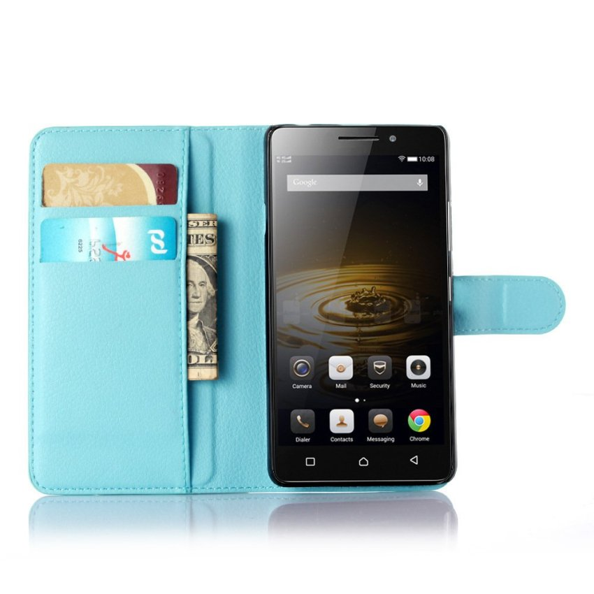 PopSky PU Leather Wallet Stand Flip Cover for Lenovo Vibe P1m (Blue)