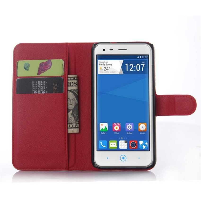 PopSky Wallet Case for ZTE BLADE S6 (Red)