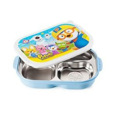 Pororo Portable Stainless Steel Divided Food Tray, Platter With Lid In (Blue) (Export) - Intl