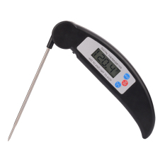 Portable Folding Digital LCD Display Instant Read Food Thermometer Kitchen Cooking BBQ Grill Meat Thermometer For Thanksgiving Day Black - Intl