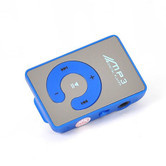 Portable Metal Mini Clip MP3 Player Support 8GB TF Card With High Quality USB Cable Earphone (Blue)