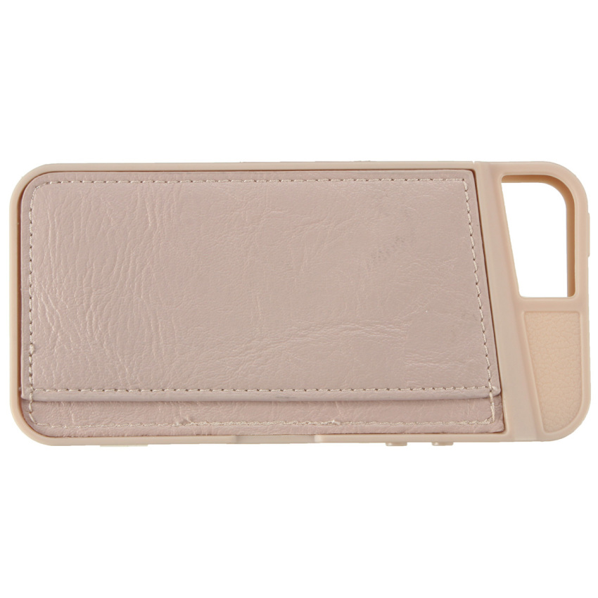Practical TPU + Leather ID Credit Card Holder Wallet Case Cover For iPhone 5 5s (Pink) (Intl)
