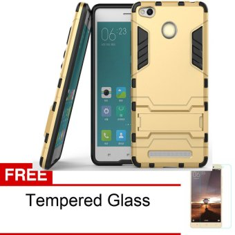 Procase Xiaomi Redmi 3 Pro Kick Stand Series + Tempered Glass - Emas