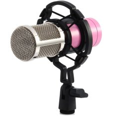 Professional Condenser Sound Recording Microphone With Shock Mount For PC Laptop Pink Intl