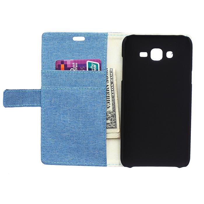 PU Flip Cover for Samsung Galaxy J7 (Blue) (Intl)