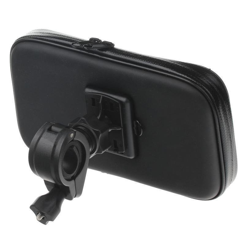 PU Leather 360 Degree Rotation Bracket Waterproof Bag for 6.3 Inch Mobile Phone (Black)