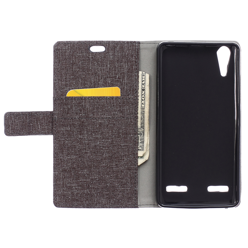 PU Leather Flip Cover for Lenovo A6000 (Gray) (Intl)