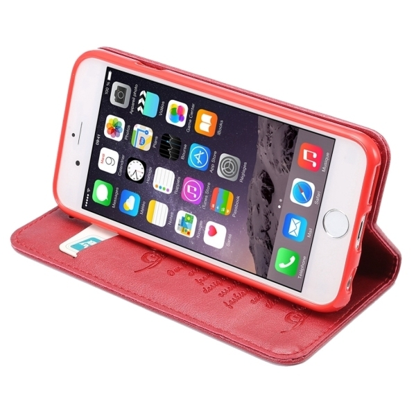 PU Leather Plastic Cover with Card Slots Holder Wallet for iPhone 6/6S (Red) (Intl)