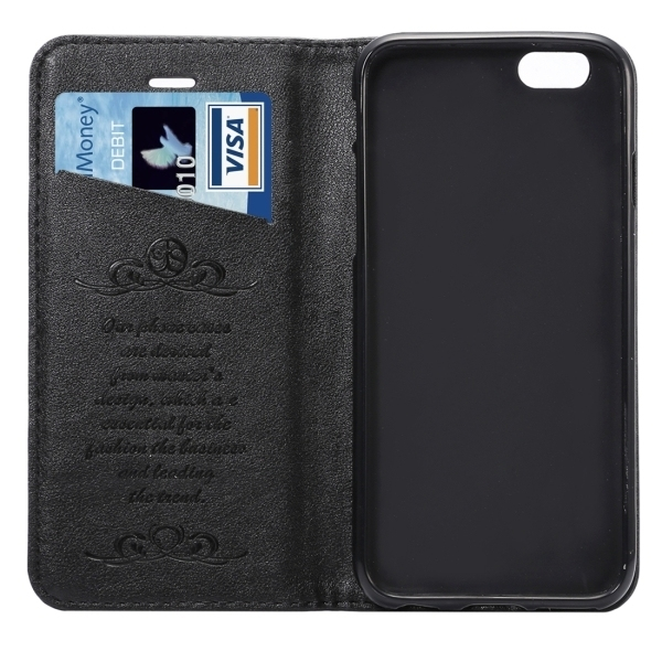 PU Leather Plastic Cover with Card Slots Holder Wallet for iPhone 6 Plus/6S Plus (Black) (Intl)