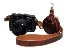 PU Leather Shoulder Neck Strap Camera Strap + Lens Cap Pouch For Camera Canon G3X Dedicated SLR (Coffee) - Intl