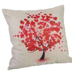 Pu Sheng Pillow Case Red Tree Linen Cushion Cover Sofa