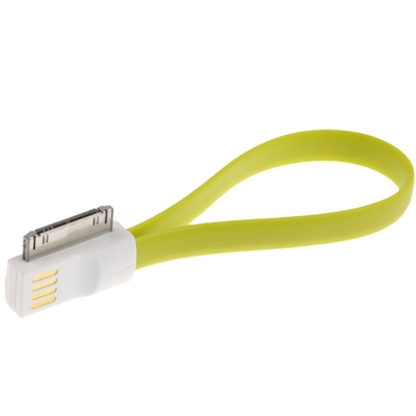 Pure Color Noodle Bracelet Style Magnet USB to Dock Cable for iPhone 4 & 4S - Light Green