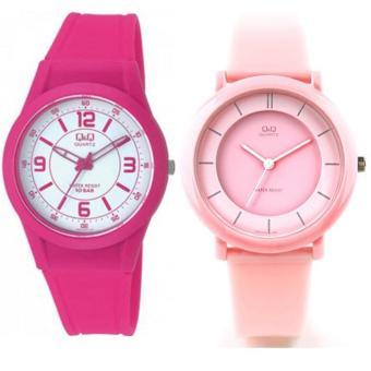 Q&Q Original Watch Jam Tangan Pasangan - Pink - Strap Karet - CP007 (One Size)