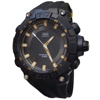 Q&Q - VR60J004Y - Jam Tangan Pria - Strap Rubber - Hitam Gold (One Size)
