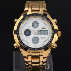 Quamer Golden Sport Watches For Men Full Steel Military Watch LEDDigital Analog Dual Time Wristwatches (Intl)