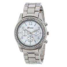 Quartz Plated Classic Round Ladies Watch Women Crystals Wristwatches (Silver) (Intl)
