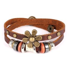 Queen Ladies Original Hand-Woven Leather Ancient Complex National Style Wooden Beads Double Wrapped Bronze Flowers (Brown) - INTL