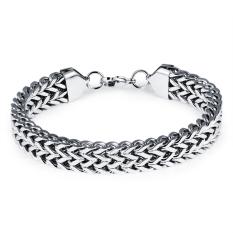 Queen Men's Personalized Square Scales Titanium Steel Bracelet (Silver)