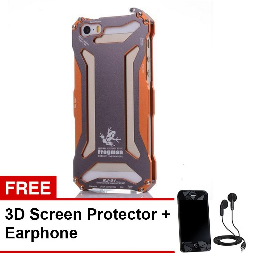 R-Just Gundam Protective Case for Iphone SE / 5S / 5 - Oranye + Gratis 3D Screen Protector + Earphone