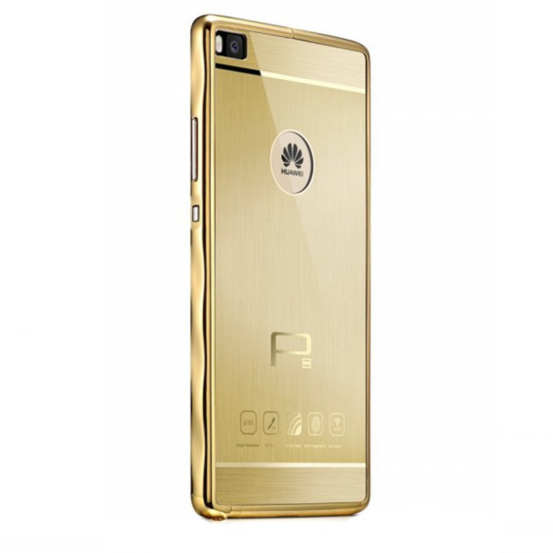 R-just Titanium Metal Frame and Cover for Huawei P8 (Gold)