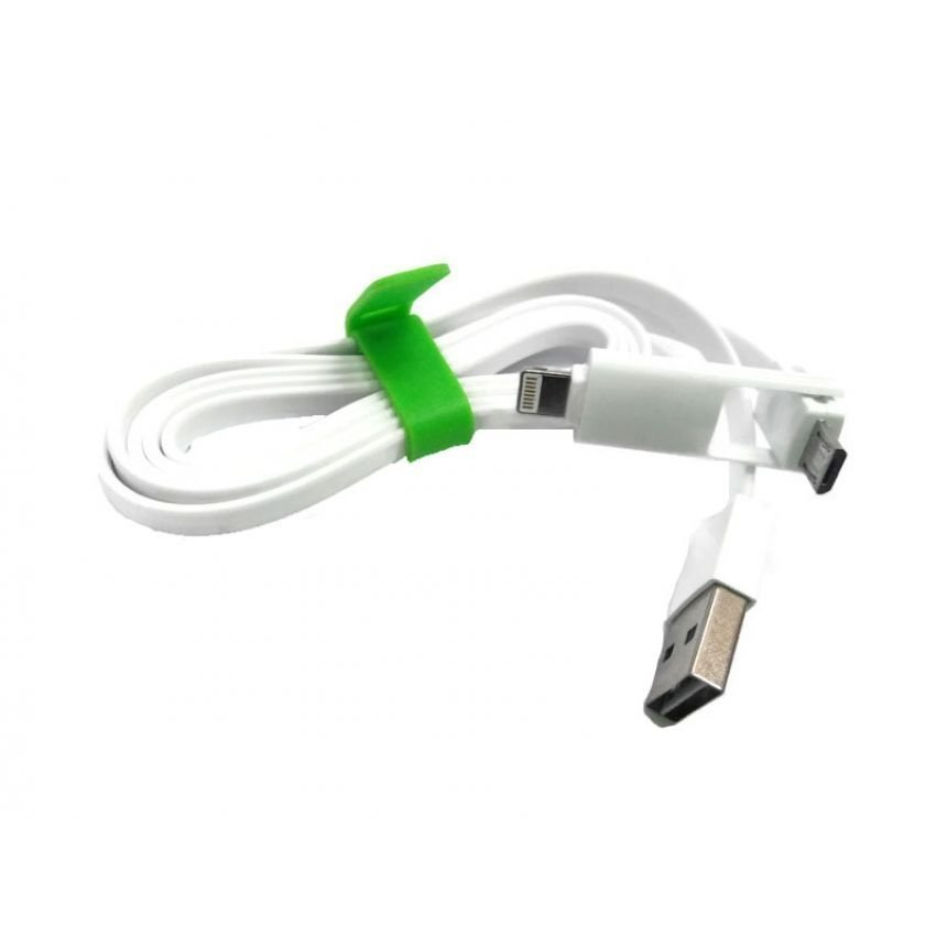 Random House Cable 2 in 1 Lightning for Apple and Micro USB Cable Data for Android - Putih