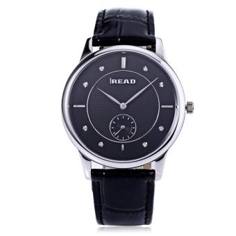 READ R6025G Men Quartz Watch Genuine Leather Band Sapphire Mirror 3ATM Wristwatch (Black)