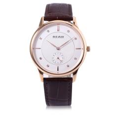 READ R6025G Men Quartz Watch Genuine Leather Band Sapphire Mirror 3ATM Wristwatch (White)