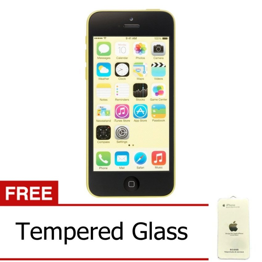 Refurbished Apple iPhone 5C - 32 GB - Kuning - Grade A + Gratis Tempered Glass