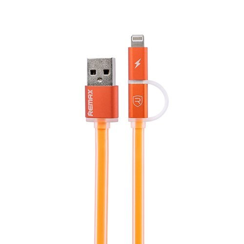 Remax Aurora Cable 2 in 1 For Apple and Micro USB Cable Data - Oranye