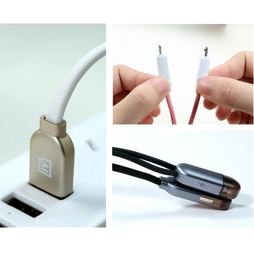 Remax High Speed 2 in 1 Micro Usb - Lightning Pin for Smartphone and iPhone 5/6 - RC-025t - Hitam